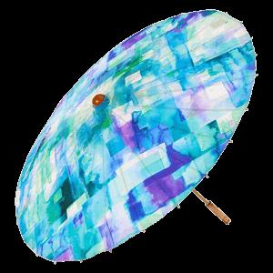 Lily-Lark Blue Squares UV protection UPF 50+ Sun Parasol