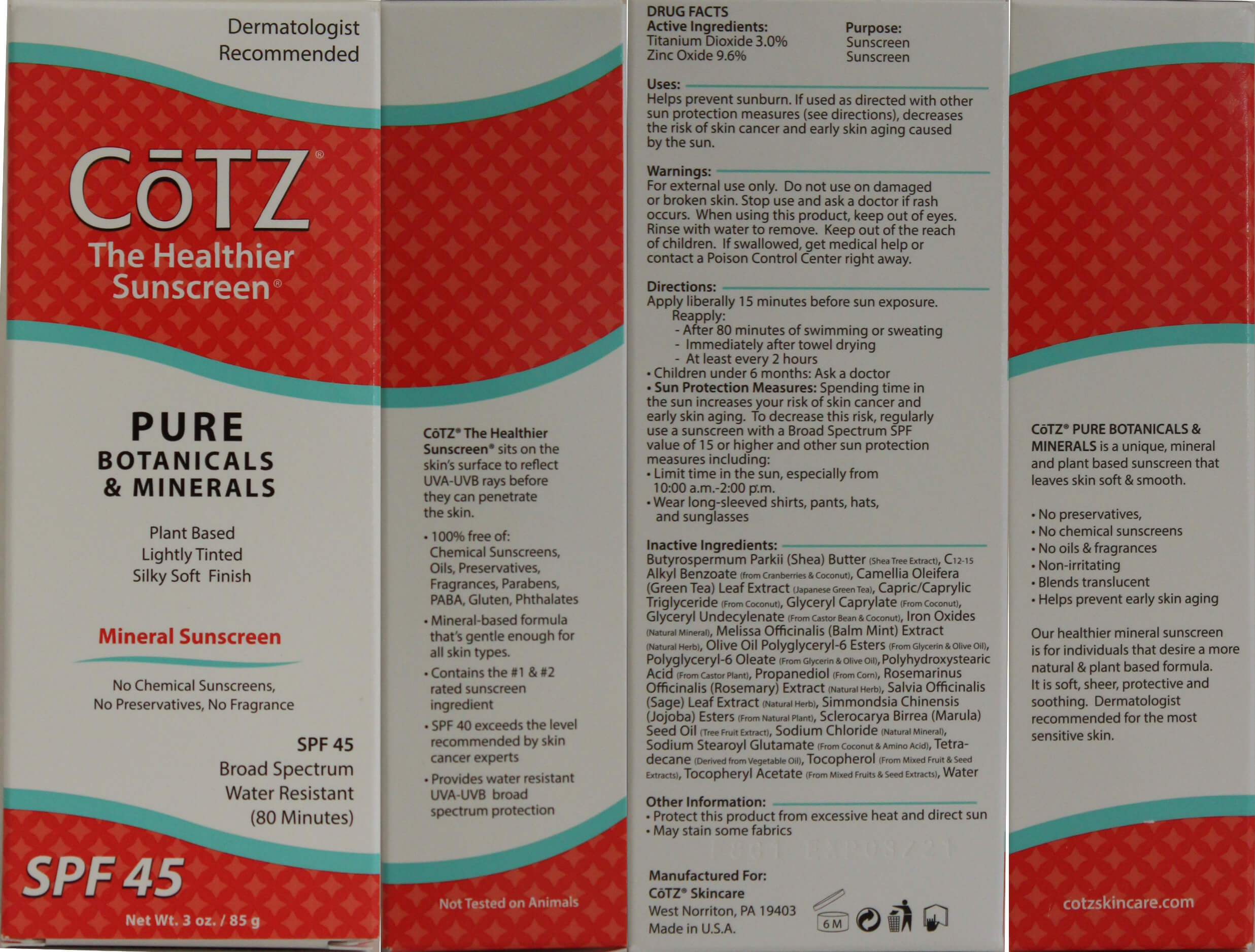 CoTZ Pure Botanical And Minerals Packaging